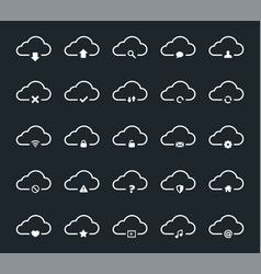 clouds computing icon set vector image