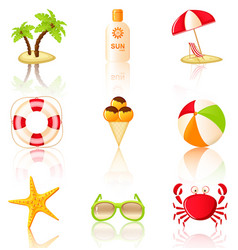 collection colored beach icons vector image