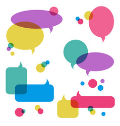 color transparent speech bubbles icons set vector image