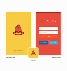 Company hat splash screen and login page design vector