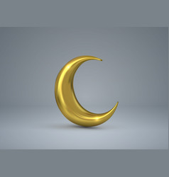 Crescent golden moon vector