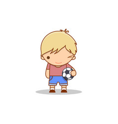 cute cartoon winking little boy with a football in vector image