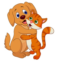 Cute dog and cat cartoon embracing each other vector