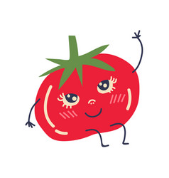 Cute ripe tomato with smiling face adorable funny vector