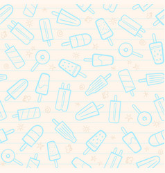 Cute seamless summer pattern fruit icecream vector