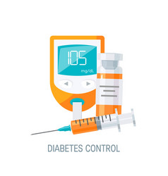 diabetes management concept in flat style vector image