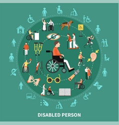 Disabled person round composition vector