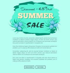 discount 45 summer sale promotion emblem poster vector image