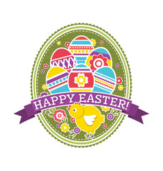 Easter label with color eggs chicken and flowers vector