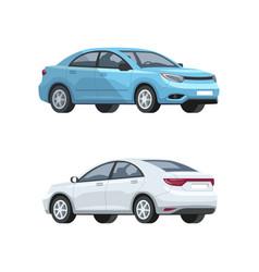 Elegant cars semi flat rgb color set vector