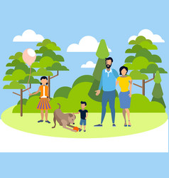 family on holiday in park with a dog in vector image