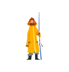 fisherman standing with fishing rod fishman vector image