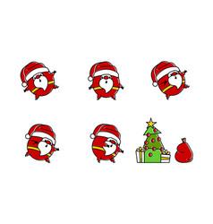 flat santa logo in line art style vector image