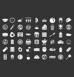 food icon set grey vector image