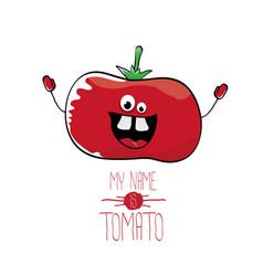 Funny cartoon cute red tomato vector