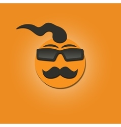 Funny face with a mustache vector image
