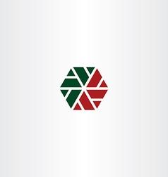geometric red green hexagon icon vector image