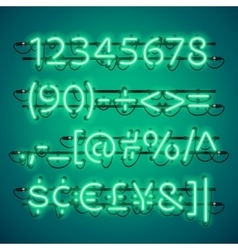 Glowing Neon Green Numbers vector image