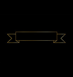 Gold ribbon contour shape golden outline banner vector