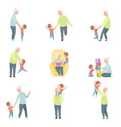 grandpa and grandma playing walking and having vector image
