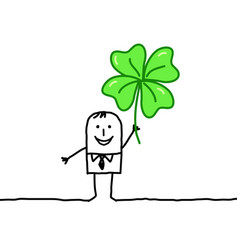 Hand drawn cartoon characters - man with clover vector