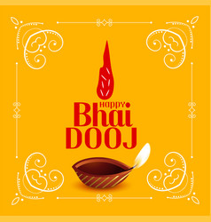 happy bhai dooj traditional festival card design vector image