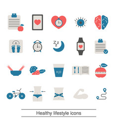 healthy lifestyle and and health care icon set vector image