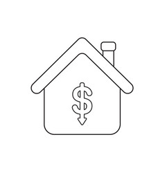 icon concept dollar arrow moving down inside vector image