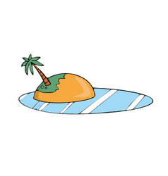 island with palm cartoon on white vector image