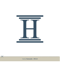 Letter h pillar legal attorney law office logo vector