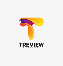 logo tree view gradient colorful style vector image