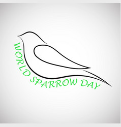 lovely laconical card for world sparrow day print vector image