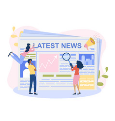 Male and female characetrs are reading latest news vector