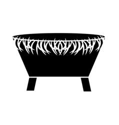 Manger straw cradle icon vector