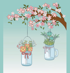 Mason jars with flower hanging in tree branch vector