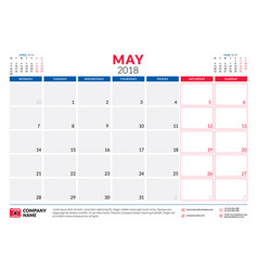 may 2018 calendar planner design template week vector image