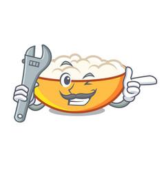 Mechanic cottage cheese mascot cartoon vector