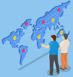 Men work together with world map for worldwide vector