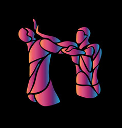 mma fighters abstract neon silhouettes on black vector image