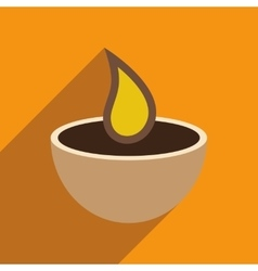 Modern flat icon with long shadow indian candle vector