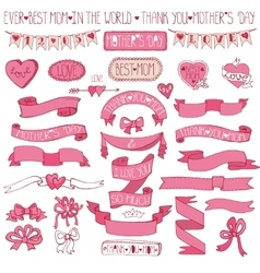 Mothers day pink decor setHand drawing Ribbons vector