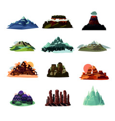 mountain landscapes collection vector image