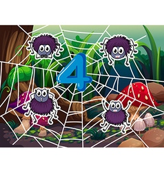 Number four and four spiders on web vector