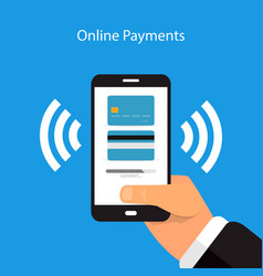 online payment with a mobile phone on a blue vector image