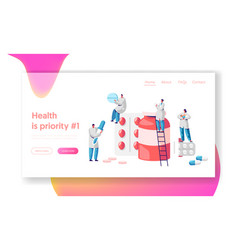 Pharmacy business medicine drug store landing page vector