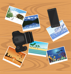Photocamera smartphone and photographs on table vector