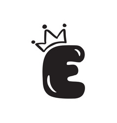 plump vintage cute letter e with crown vector image