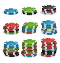 poker chips stacks plastic white red vector image