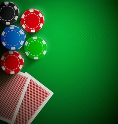 poker table cards and chips realistic theme vector image