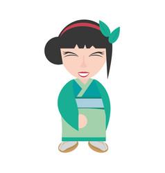 Pretty geisha green kimono vector